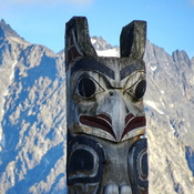 Totem pole in the Rocky Mountains