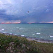 Rain clouds at sunset, Lake Huron
