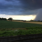 Via Rail train - looking north - near Paris ON