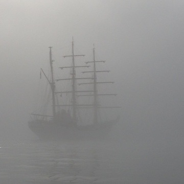 Tall Ship in Fog