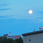 Full moon n the western sky