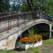 Old Bridge and Marigold Planter