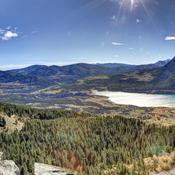 Exshaw, Barrier Lake and Yamnuska from the Prairie View hiking trail