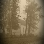 Morning pic of our old Anglican Church as the fog roll in!