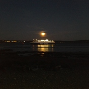 Ferry in moon light