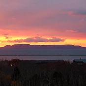 Sun rising in thunder bay sleeping giant