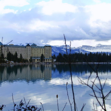 fairmont hotel and boat house at Lake Louise