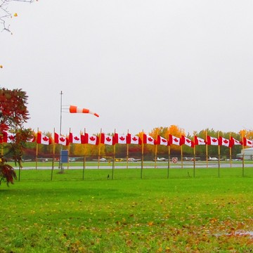 Flags on Fence of Rockcliffe Airport