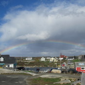 Rain bow over Peggys cove