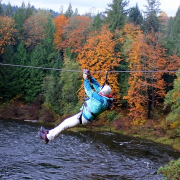 Zipping across the Nanaimo River