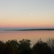 Sunset and Moon reflection off clouds on Lake Wabanum