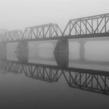 Foggy Train Bridge