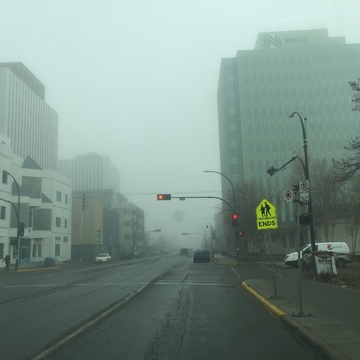 Fog over Yellowknife