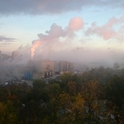 Labatt Brewery and pink fog morning