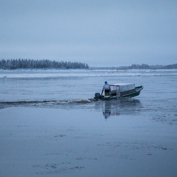 Still boats in Moosonee on December 3rd.