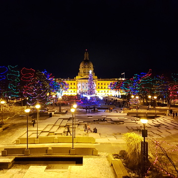 A beautiful might at Alberta Legislature building