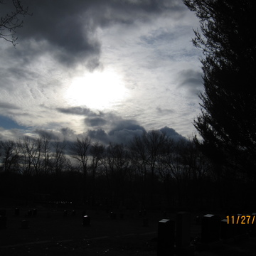Sun hiding behind the clouds on a warm Sunday afternoon ...