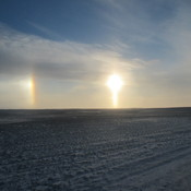 Sun dogs on the prairies