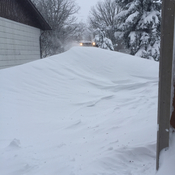 7 foot drift in driveway in Killarney, MB.