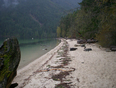 Beach at Chilliwack lake in the fall
