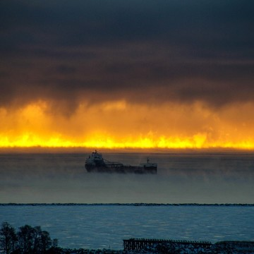 Lake Superior on fire or is it fog