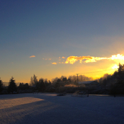 Sunrise on snowy Salt Spring Island.