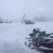 Snowing at the Dorchester Polaris Dealership