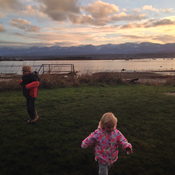 Grand kids and sunset