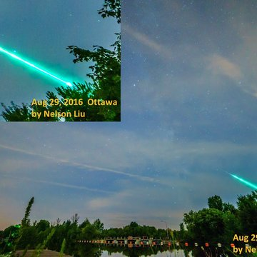 Meteor photo taken in Ottawa, 29 Aug 2016
