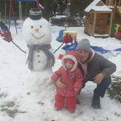 made snowman with my daughter and wife