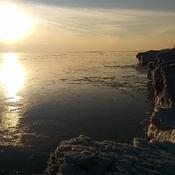 Sunset on the ice mounds