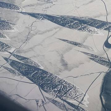 Frozen fish shapes on Lake Superior