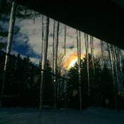 Icicles and a rainbow clouds at the cottage!