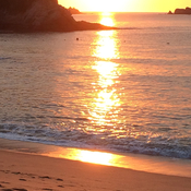 Beautiful sunrise at the Barcelo beach in Huatulco, Mexico on January, 10,2017..