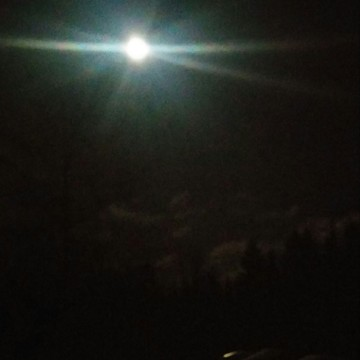 Full moon shing on the crusty snow at our camp.