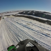 Panoramic view Snowmobiling near Katepwa Lake,Saskatchewan,Canada