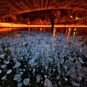 Methane Bubbles under a bridge in Calgary