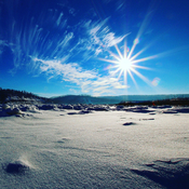 Sunshine over the Athabasca River.
