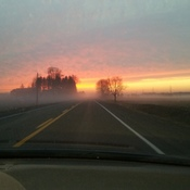 Beautiful sunset in the fog!