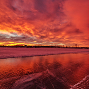 Lac La Biche sunrise on fire