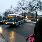 Montreal icy roads, buses jackknifed blocking city streets!