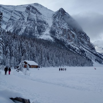 Cross country skiing at Lake Louise.