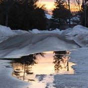 melting snow reflections