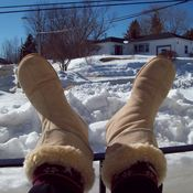 Tshirt weather in Hantsport, NS but we still have our boots on!