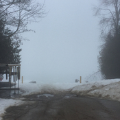 Fog covers Lake Simcoe