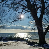 View of Lake Erie from the east side of the beach