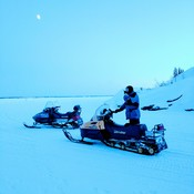 Sled ride at Fram Lake Yellowknife NT