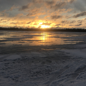 Turtle lake sunrise on ice