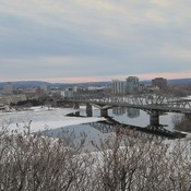 Spring ice in Ottawa River at Alexandra Bridge in Ottawa