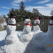 Snowmen Family in Spring